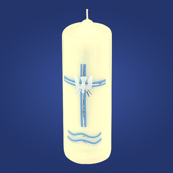 Blue 3 Sacraments Baptism Candle