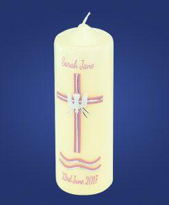Pink 3 Sacraments Baptism Candle