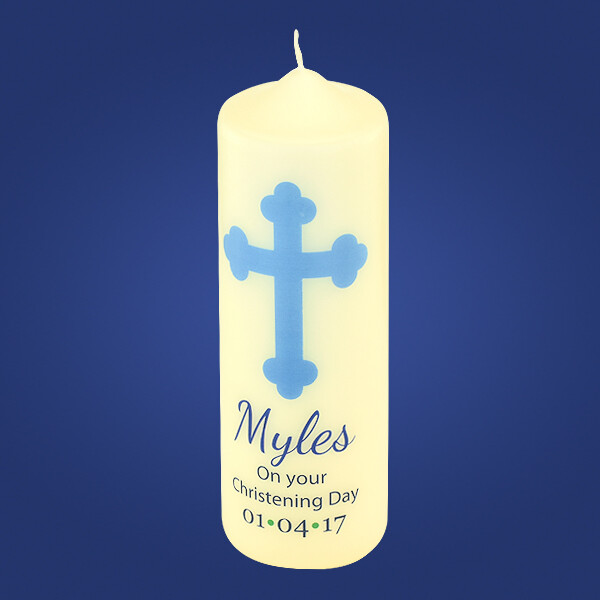 Blue Christening Candle