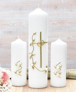 Gold Cross with White Roses Wedding Candle Set