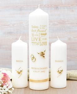 Gold Wedding Verse Wedding Candle Set