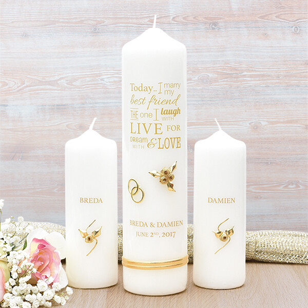 Gold Wedding Verse Wedding Candle Set