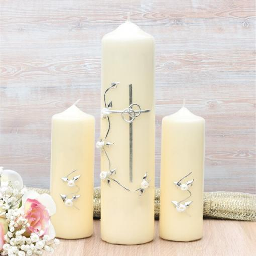 Silver Cross with White Roses Wedding Candle Set