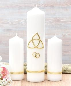 Gold Trinity Cross Wedding Candle Set