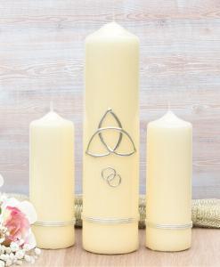 Silver Trinity Cross Wedding Candle Set