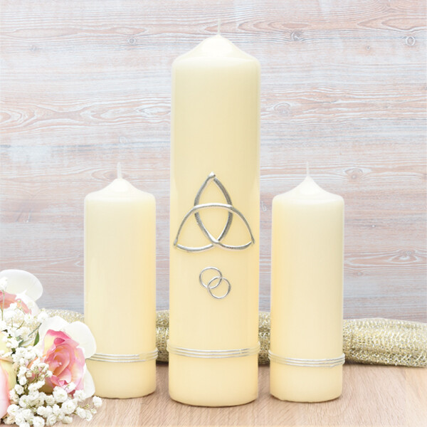 Silver Trinity Cross Wedding Candle Set