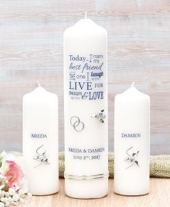 Navy Wedding Verse Wedding Candle Set