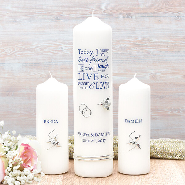 Navy Wedding Verse Wedding Candle Set