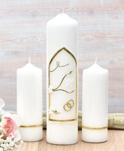 Gold Wedding Window Wedding Candle Set
