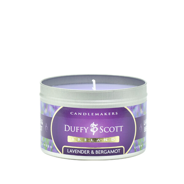 Lavender & Bergamot Scented Tin Candle