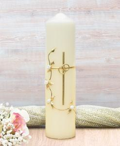 Gold Cross with White Roses Wedding Candle