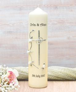 Silver Cross with White Roses Wedding Candle