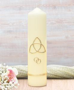 Gold Trinity Cross Wedding Candle