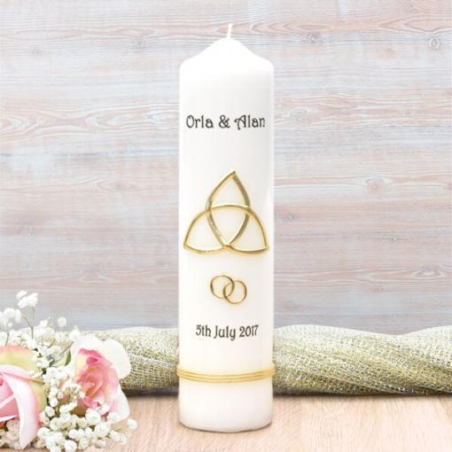 Gold Trinity Cross Wedding Candle