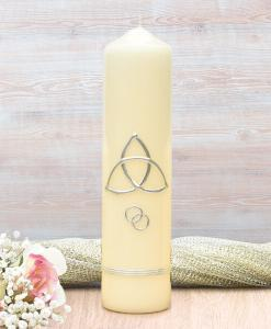 Silver Trinity Cross Wedding Candle
