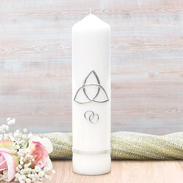 Silver Trinity Cross Wedding Candle