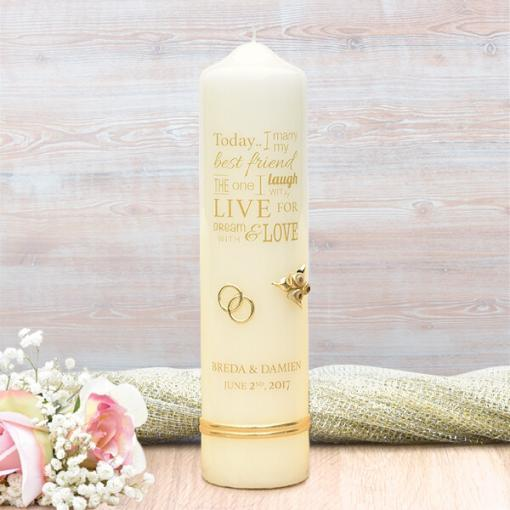 Gold Wedding Verse Wedding Candle