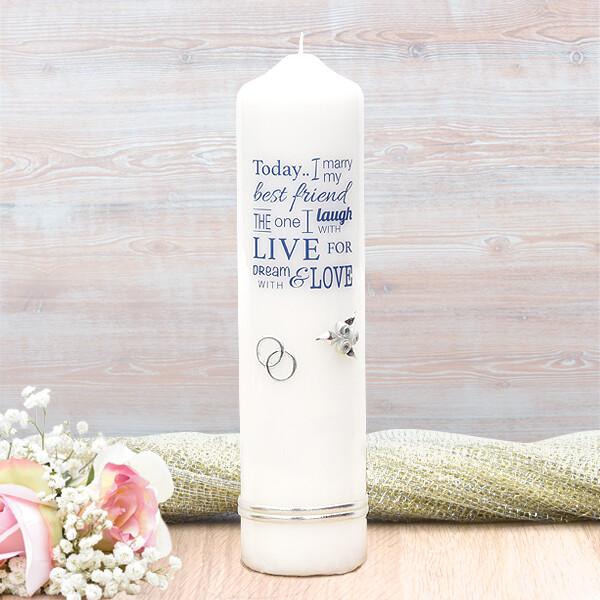 Navy Wedding Verse Wedding Candle
