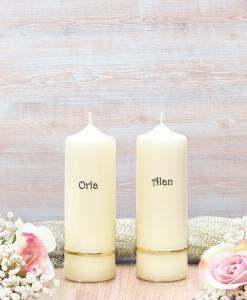 Gold Flat Band Wedding Side Candles