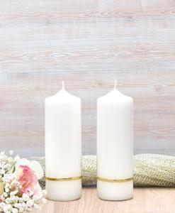 Gold Flat Band Wedding Side Candles