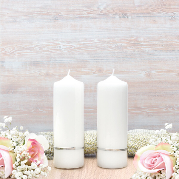 Silver Flat Band Wedding Side Candles