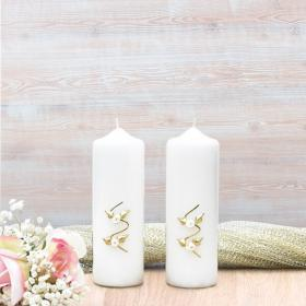 White & Gold Roses Wedding Side Candles