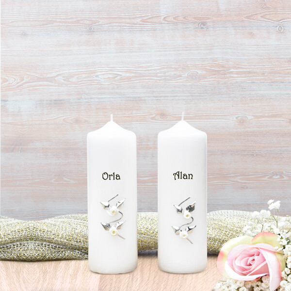White & Silver Roses Wedding Side Candles