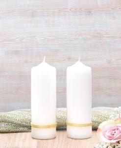 Gold Treble Band Wedding Side Candles