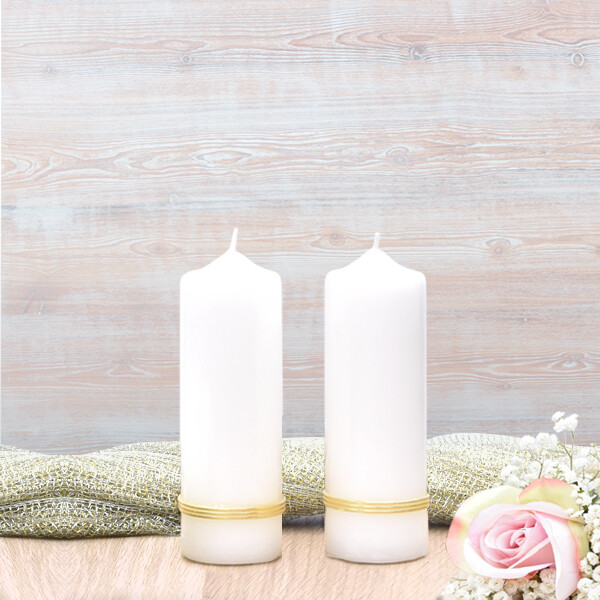Gold Treble Band Wedding Side Candles