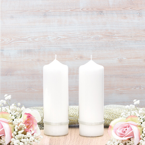 Silver Treble Band Wedding Side Candles